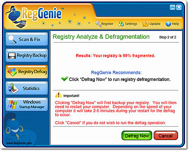 Reggenie Defrag Options